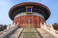 Imperial Vault of Heaven in Temple of Heaven, one of the mayor tourist attractions in Beijing, capital city of China.