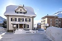 The tipical house in the center of Andermatt, Canton of Uri, Switzerland, Europe.
