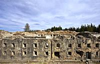 Facade of the Austro-Hungarian fort of Luserna. Cimbra Alp, Trento province, Trentino Alto-Adige, Italy, Europe.