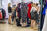 Excited shoppers in the newly opened Nordstrom Rack off-price store in the Empire Outlets mall in Staten Island in New York on Saturday, July 6, 2019....