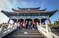 Pavilion of Everlasting Spring Pavilion on the hilltop of Jingshan Park in Beijing, China.