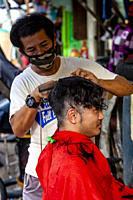 Street Barber, Intramuros, Manila, The Philippines.
