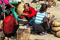 Squashes/Pumpkins and Fresh Ginger For Sale At An El Nido Street Market, El Nido, Palawan, The Philippines.