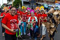 A Group Of Filipino Tourists Pose In Traditional Head Wear During The Ati-Atihan Festival, Kalibo, Panay Island, Aklan Province, Western Visayas, The ...