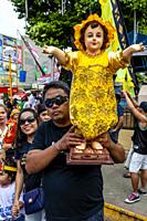 Local People Parade Their Santo Nino Statues Around The Streets Of Kalibo During The Ati-Atihan Festival, Kalibo, Panay Island, Aklan Province, Wester...