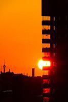 Stockholm, Sweden Sunrise over Liljeholmskajen and the Kajen 4 tower.