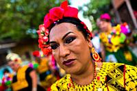 A Mexican â. œmuxeâ. . (typically, a homosexual man wearing female clothes) takes part in the traditional procession during the Vela de las Intrépidas...