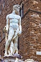 The Fountain of Neptune Sculpture (Fontana del Nettuno) designed by Baccio Bandinelli, Piazza della Signoria, Centro Storico, Firenze, Tuscany, Italy.