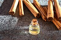 A bottle of essential oil with true Ceylon cinnamon sticks on a dark background.