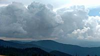 Mountains and clouds in dark summer day Storm sky in Ukraine Karpathians nature.