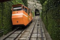Funicular coach. Funicular railway for the Upper Town (Città Alta). Lower City (Città Bassa), Bergamo, Lombardy, Italy, Europe.