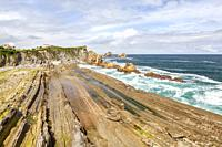 Arnia beach and Urros de Liencres, Liencres, Cantabria, Spain.