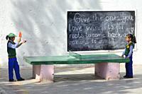 India, Jammu & Kashmir, Ladakh, Choglamsar, SOS children village, Children playing table tennis.