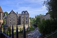 Scotland. Edinburgh. The Dean Village is a tranquil green oasis on the Water of Leith, only five minutes walk from Princes Street..In the past the vil...