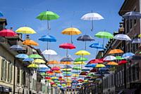 Colourful hanging umbrellas, Geneva, Switzerland.