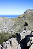 Hiker in Serra de Tramuntana, Escorca, Mallorca, Spain.