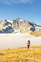 Hiker walking along hill of Nivolet with Grand Aiguille Rousse in the background, Ceresole Reale, Graian Alps, Gran Paradiso National Park, Piedmont r...