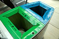 Public waste bins for metal, plastic and glass.