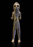 Copper statuettes of warriors with a short loincloth which originally held weapons in their hands, as well as representation of a woman. These acquire...