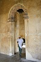 Ethiopia, Gonder, World Heritage Site, Royal enclosure, Fortress-city of Fasil Ghebbi, Local visitor inside Fasilades palace.
