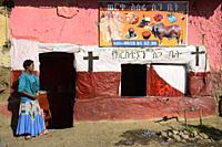 Ethiopia, Amhara region, Debark surroundings, Restaurant and meat shop.