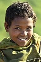 Ethiopia, Amhara region, Kosoye surroundings, Cheerful young girl.