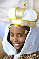 Ethiopia, Tigray, Aksum, Young bride wearing a ceremonial crown.