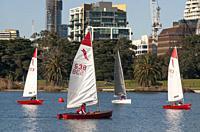 Sailboats on Albert Park Lake, Melbourne, Victoria, Australia.