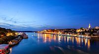 Belgrade's waterfront area facing the Sava river, Serbia.