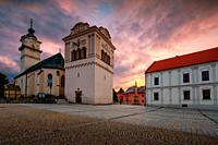 Town hall, Gothic church and Renaissance bell tower in the main square of Spisska Sobota in Poprad, Slovakia.