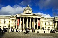 Facade of London National Gallery, Trafalgar Square, London