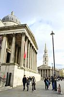 National Gallery of London and the Church of St Martin in the Fields, Trafalgar Square, London