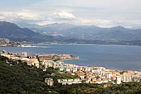 France, Corsica, city of Ajaccio and golf, overview