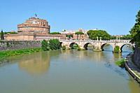 Sant Angelo bridge over Rio Tiber, Rome Italy.