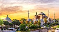 Hagia Sophia panoramic view at sunset, Istanbul, Turkey.
