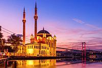 Ortakoy Mosque and the Bosphorus bridge in the night lights, Istanbul, Turkey.
