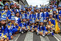 A Group Of Filipino Elementary Schoolchildren Pose For A Photo During The Tambor Trumpa Martsa Musika (Drum & Bugle Corps) Contest, Dinagyang Festival...