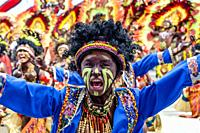 Tribal Dancing, Dinagyang Festival, Iloilo City, Panay Island, The Philippines.