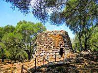 Nuraghi structures at the Santa Cristina fountain sanctuary, near Paulilatino, Province of Oristano, Sardinia, Italy.