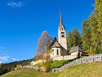 Church San Giuliana. Vigo di Fassa (Vich) in valley Val di Fassa in the Dolomites. Europe, Central Europe, Italy.
