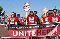 Detroit, Michigan - Members of Unite Here at Detroit's Labor Day parade.