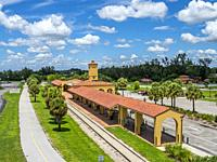 Historic restored train station in ciyt of Venice on the Gulf Coast of Florida.