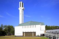 "Lakeuden Risti church and 65 meters high cross-shaped bell tower designed by Alvar Aalto. Built 1957â. ""1960. Seinajoki, Finland. August 10, 2019."