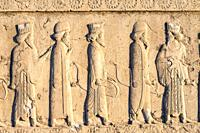 Persepolis, Apadana stairway facade, Ancient relief of the Achaemenids, Medes and Persians, Fars Province, Islamic Republic of Iran.