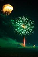 Fireworks going off over Missouri Southern State University in Joplin, Missouri on July 4, 2019.