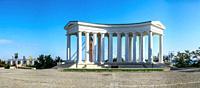 Odessa, Ukraine - 09. 059. 2019. Restored Colonnade at Vorontsov Palace in Odessa, Ukraine, at the sunny summer morning.
