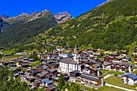 Municipality Kippel with parish church of St. Martin, Kippel, Lötschental valley, Valais, Switzerland.