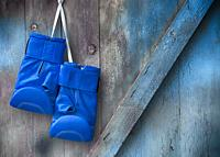 Blue boxing gloves hang on a nail on a wooden shabby wall, empty space on the right.