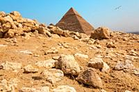 Rocks in the Giza desert in front of the Pyramid, Egypt.