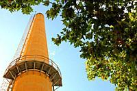 old smokestack, industrial enclosure, Besos district, Barcelona, ??Catalonia, Spain